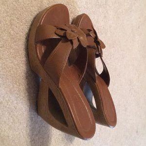 Aldo Shoes - Aldo high heeled wedge open toed sandals w/ flower